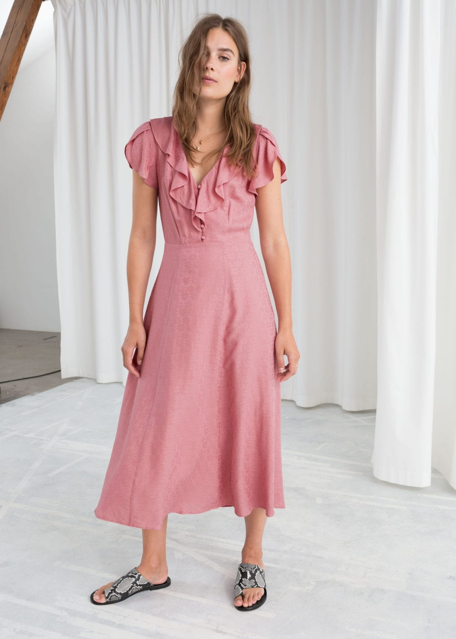 & OTHER STORIES Ruffle Lapel Pink Dress