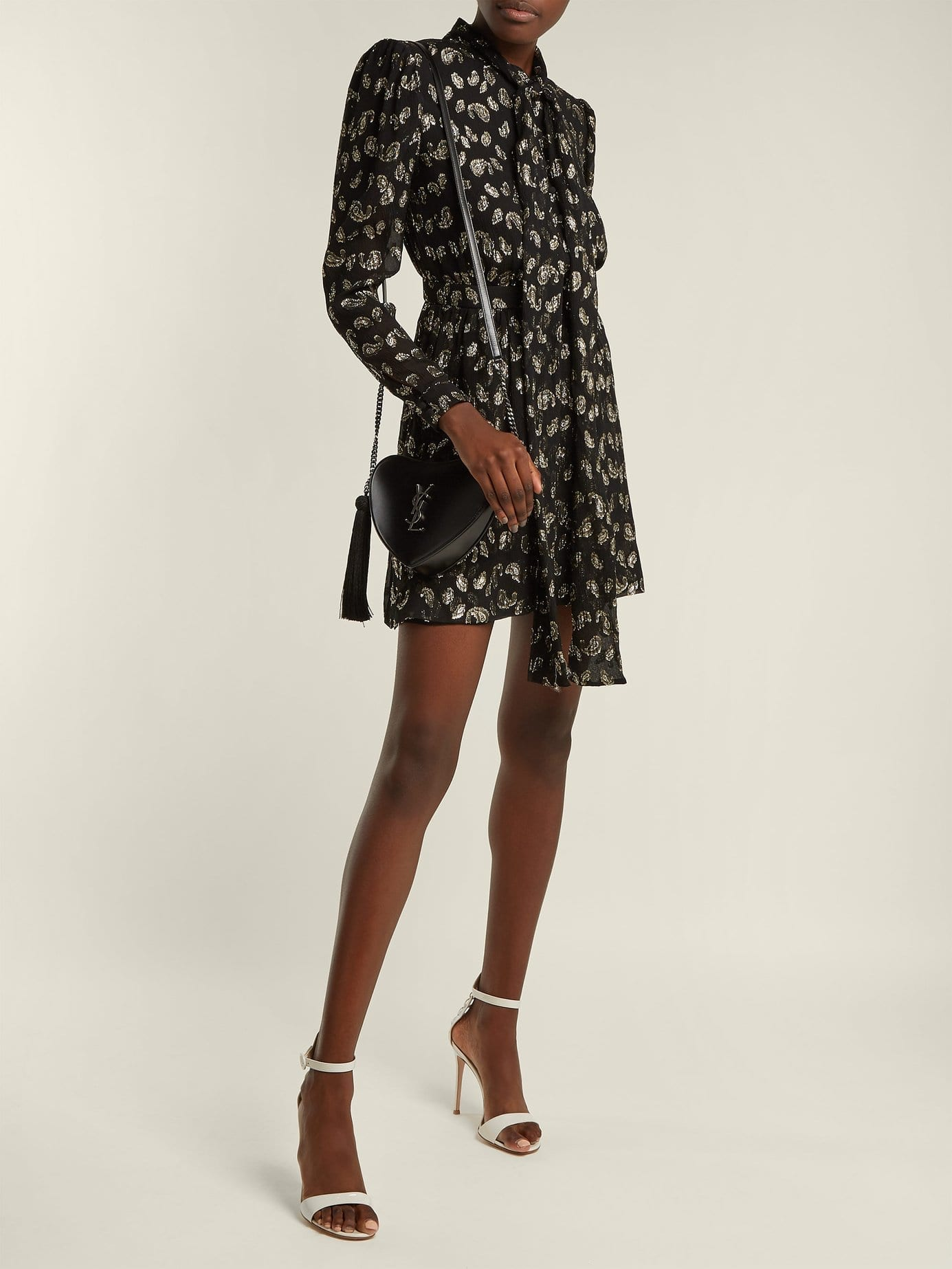 SAINT LAURENT Paisley Silk Blend Fil Coupé Black Dress