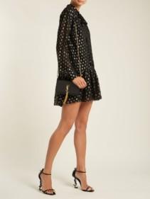 SAINT LAURENT Polka Dot Fil Coupé Silk Blend Black Dress