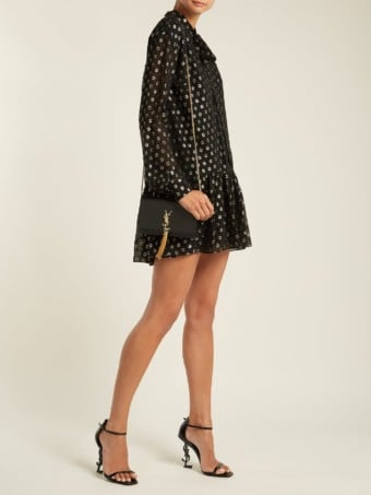 SAINT LAURENT Polka Dot Fil Coupé Silk Blend Black Dress