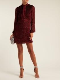 SAINT LAURENT Pussy Bow Velvet Devoré Mini Burgundy Dress