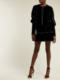 SAINT LAURENT Studded Velvet Black Dress