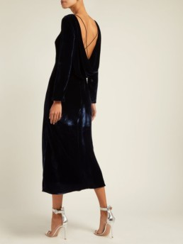 SALONI Tina Boat-Neck Velvet Navy Dress