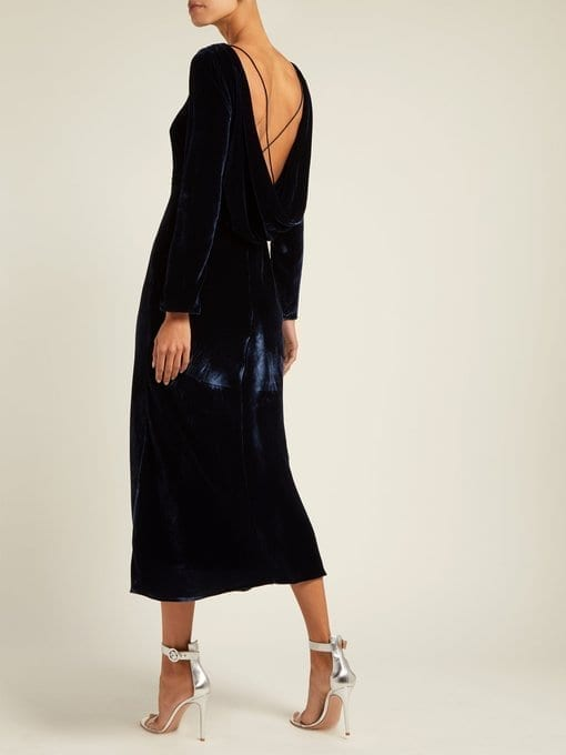 SALONI Tina Boat-Neck Velvet Navy Dress