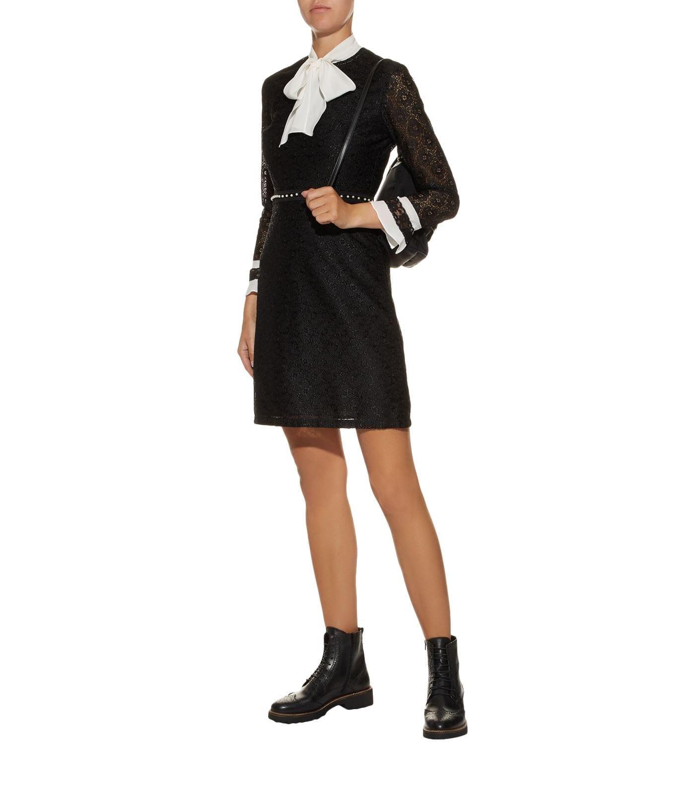 SANDRO Lace Contrast Trim Black Dress