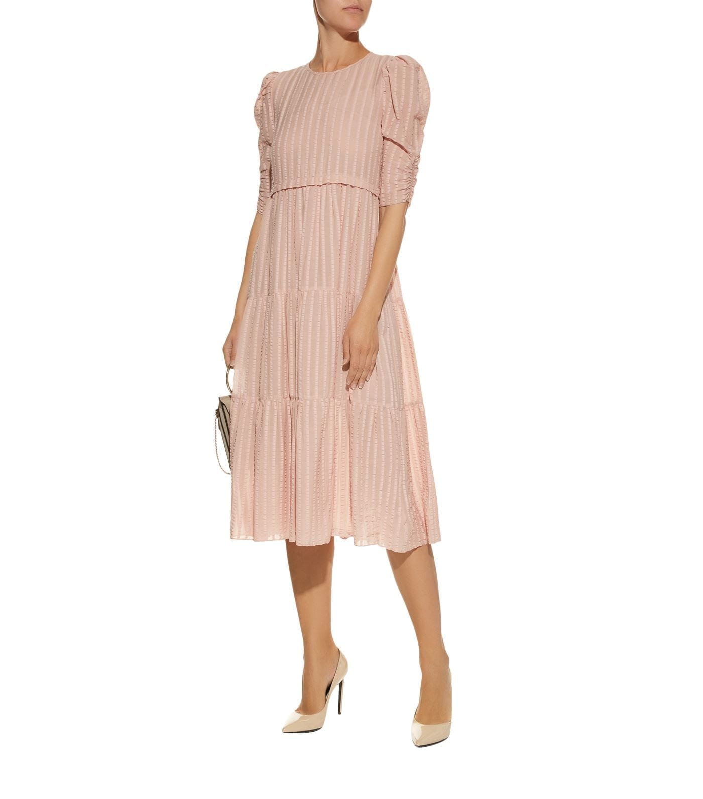 SEE BY CHLOÉ Cotton Voile Puff Sleeve Pink Dress