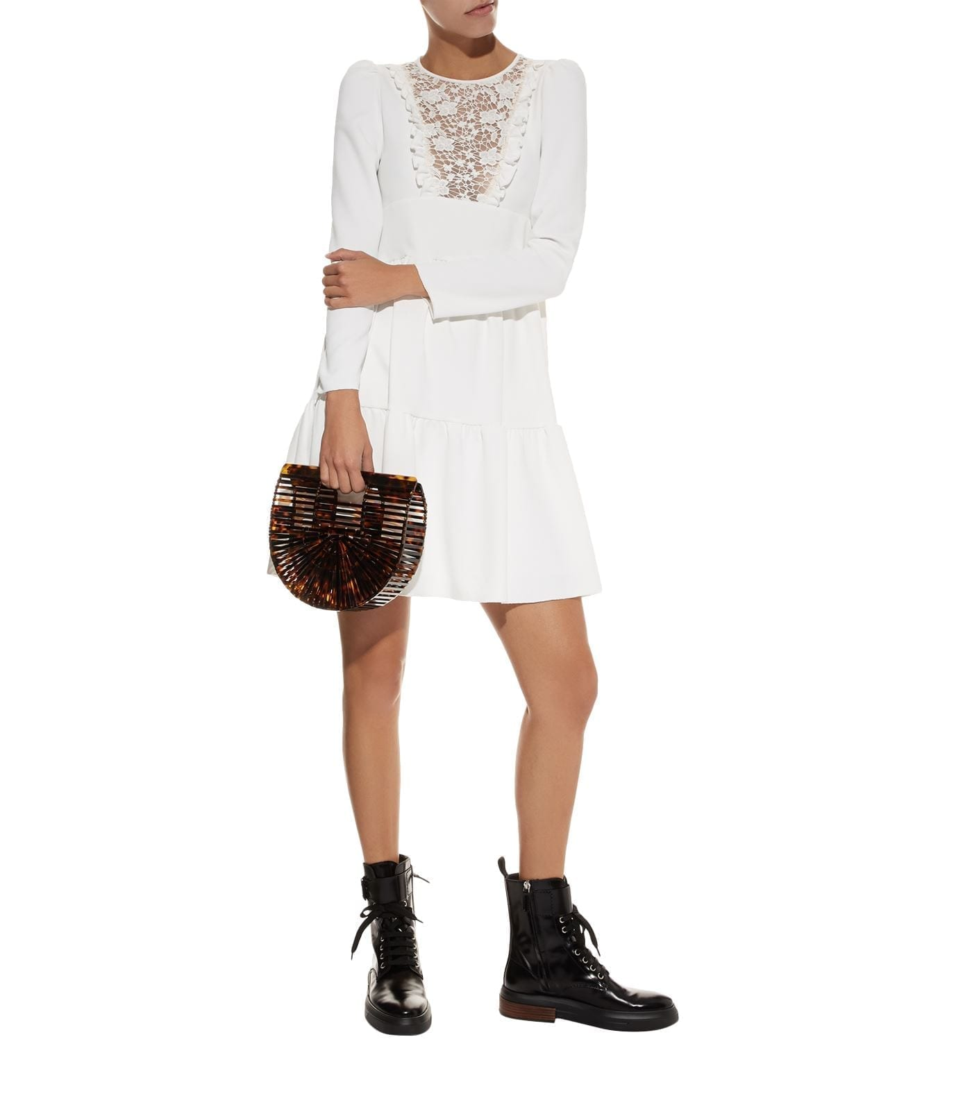 SEE BY CHLOÉ Lace Insert Crepe Ivory Dress