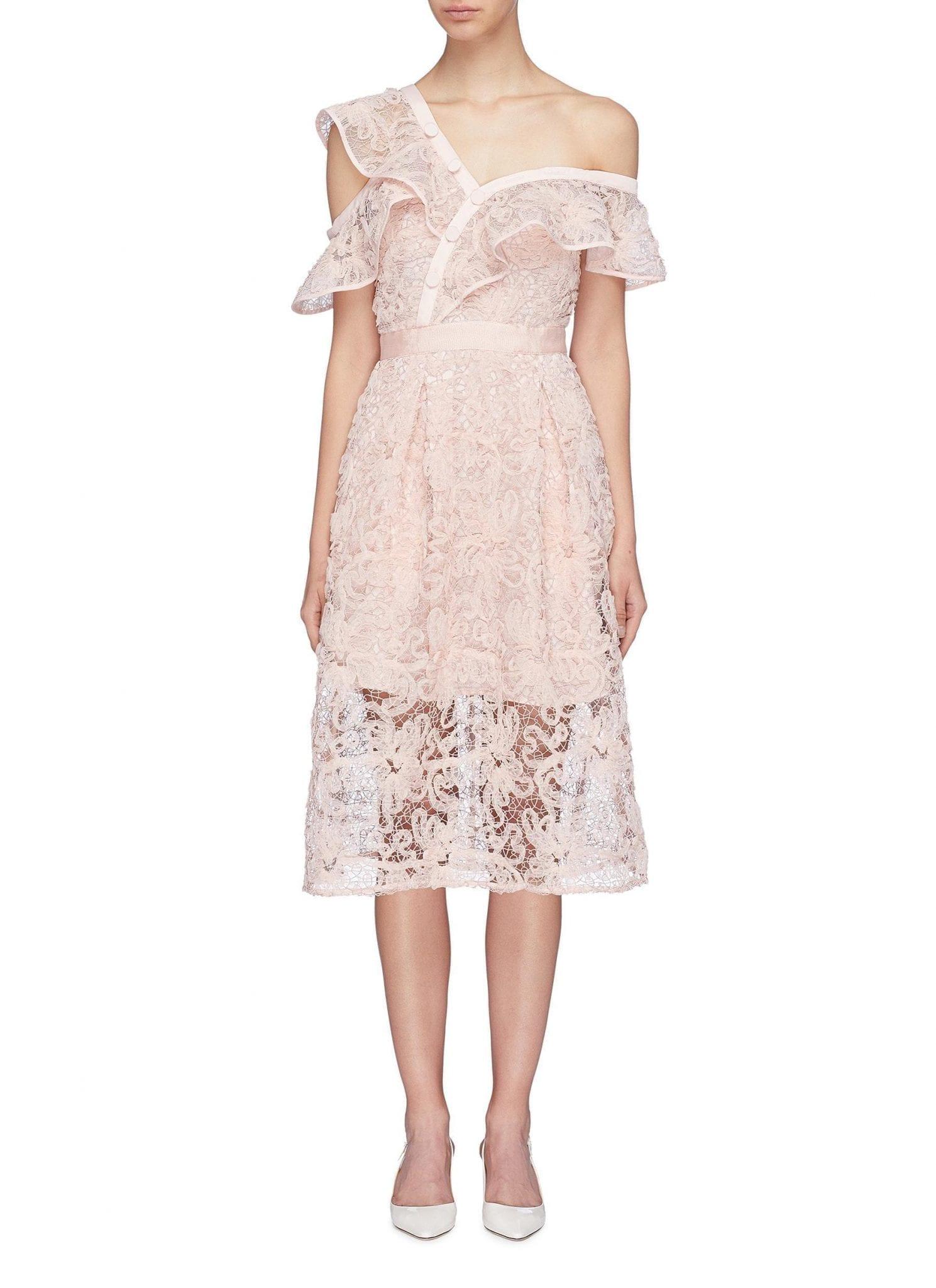 fb836e8b4ac9 SELF-PORTRAIT Asymmetric Ruffle One-shoulder Floral Mesh Lace Light Pink  Dress