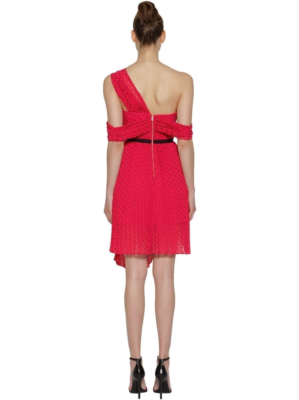 9b1a003521e7 SELF-PORTRAIT Asymmetrical Polka Dot Crepe Mini Red Dress - We ...