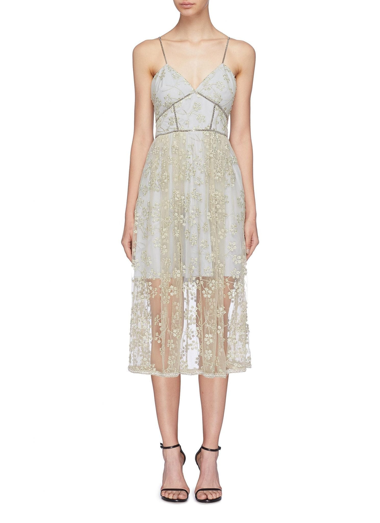 SELF-PORTRAIT Chain Trim Floral Embroidered Layered Mesh Blue / Grey Dress
