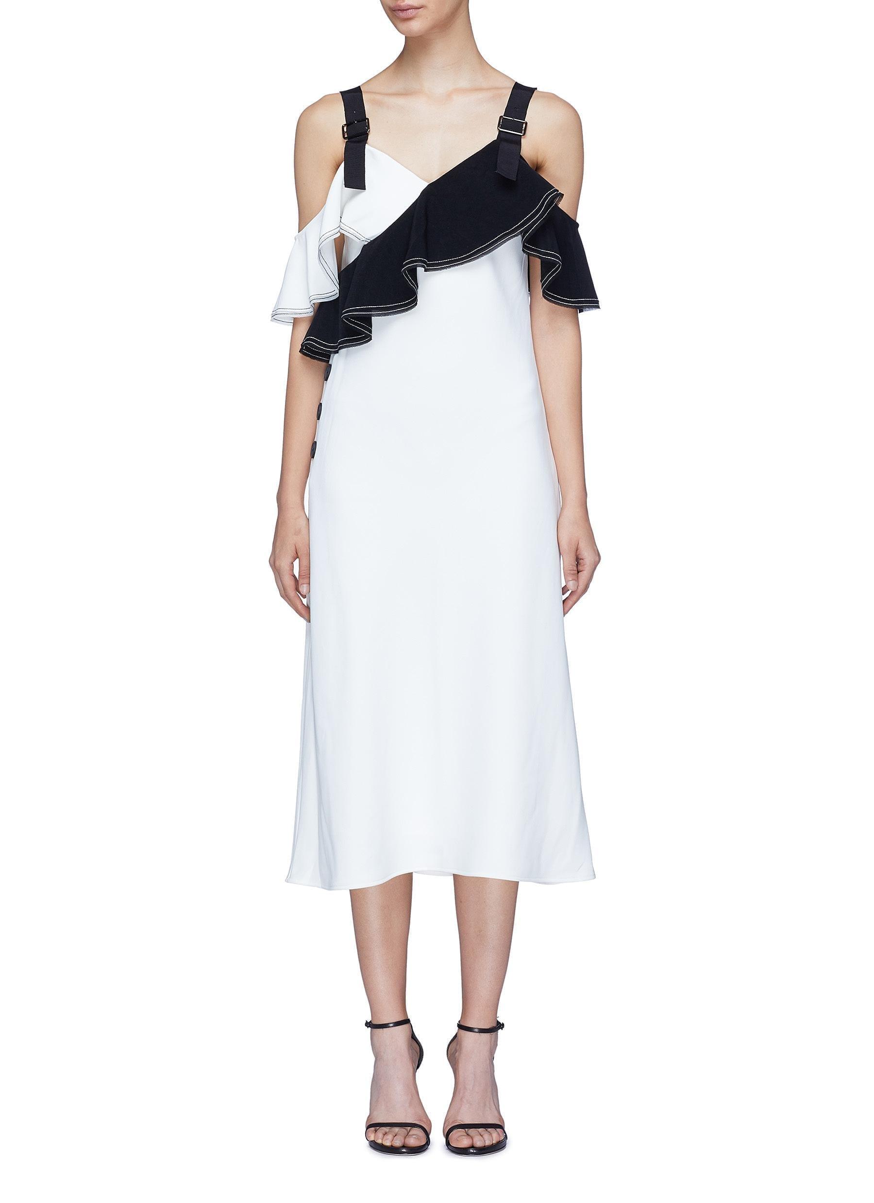 SELF-PORTRAIT Colourblock Ruffle Off-shoulder Crepe White / Black Dress