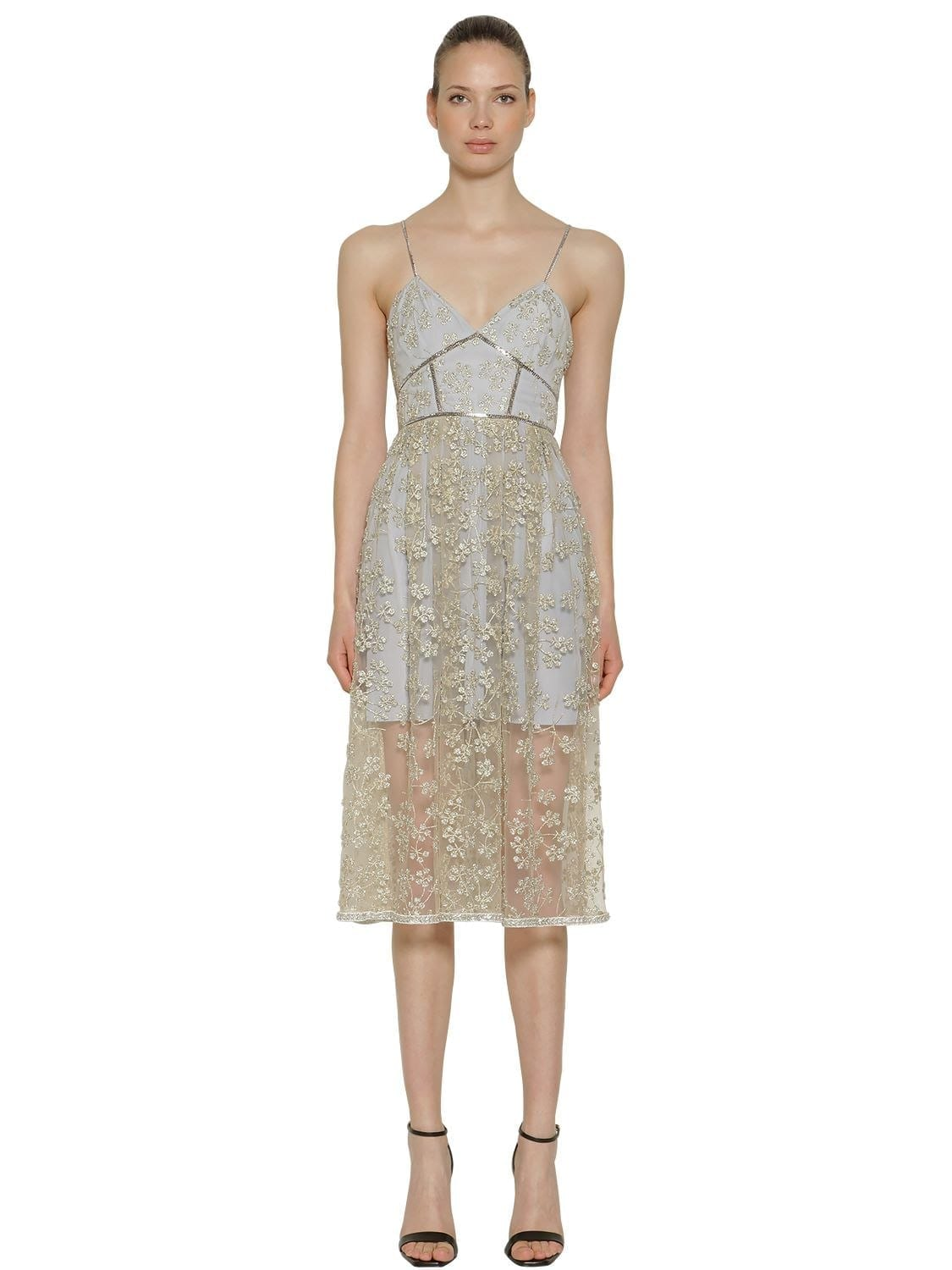 SELF-PORTRAIT Floral Embroidered Tulle Midi Gray / Gold Dress