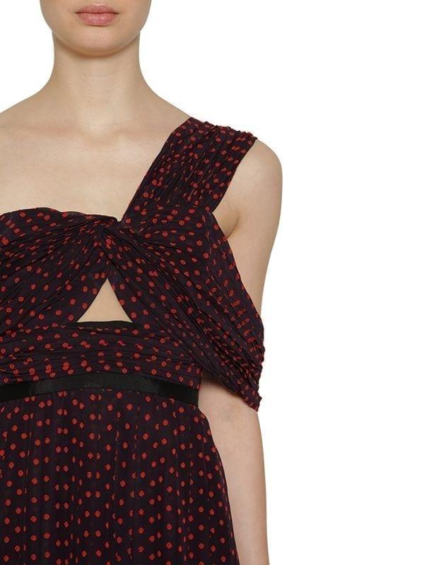 bf181d05cc5f SELF-PORTRAIT One Shoulder Polka Dot Crepe Blue / Red Dress - We ...