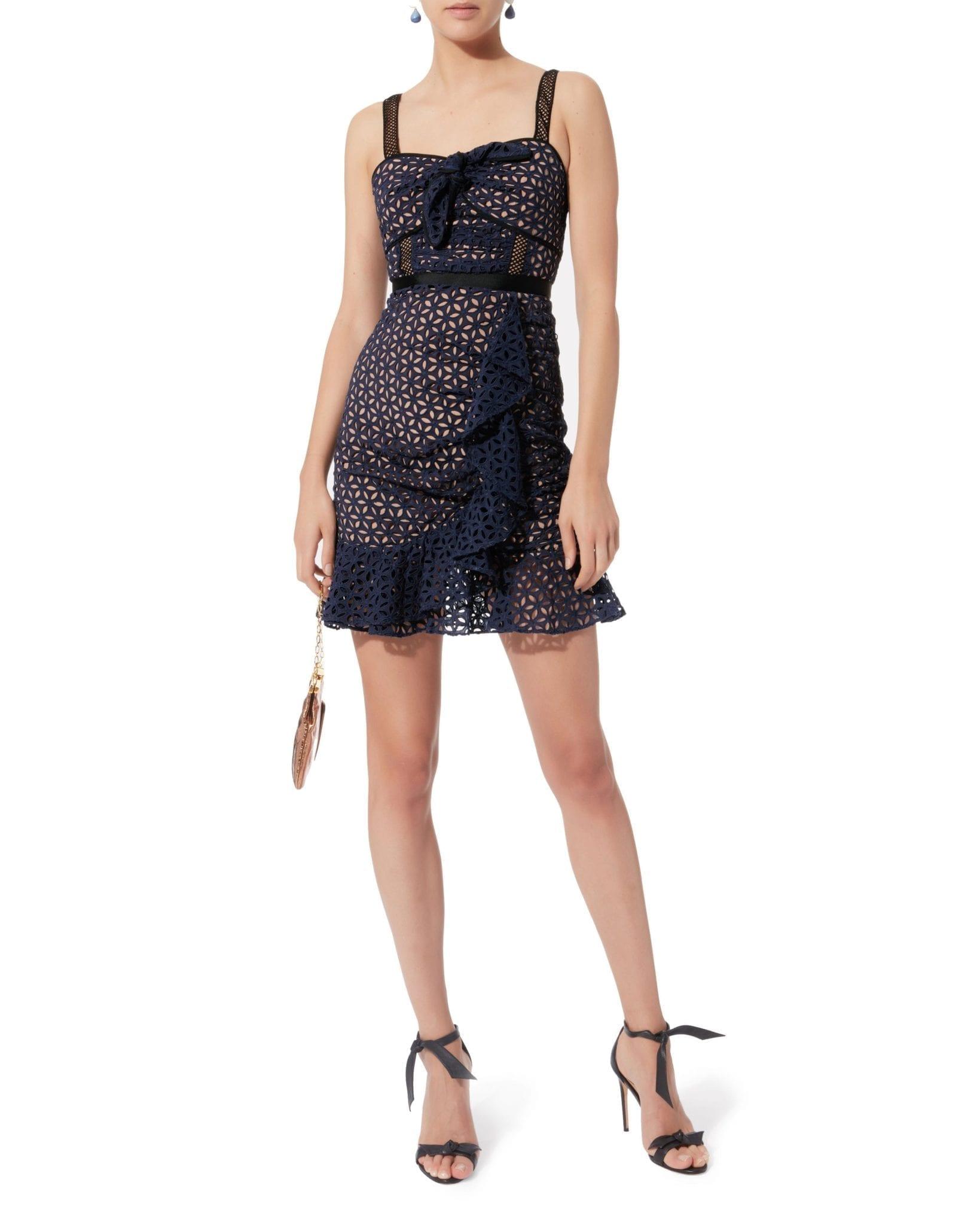SELF-PORTRAIT Petal Broderie Anglaise Mini Navy Dress