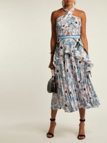 SELF-PORTRAIT Pleated Crepe De Chine Pink / Floral Printed Dress
