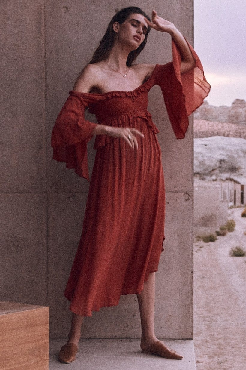 bef9d700ae1c SPELL AND THE GYPSY Florence Midi Burnt Red Dress - We Select Dresses