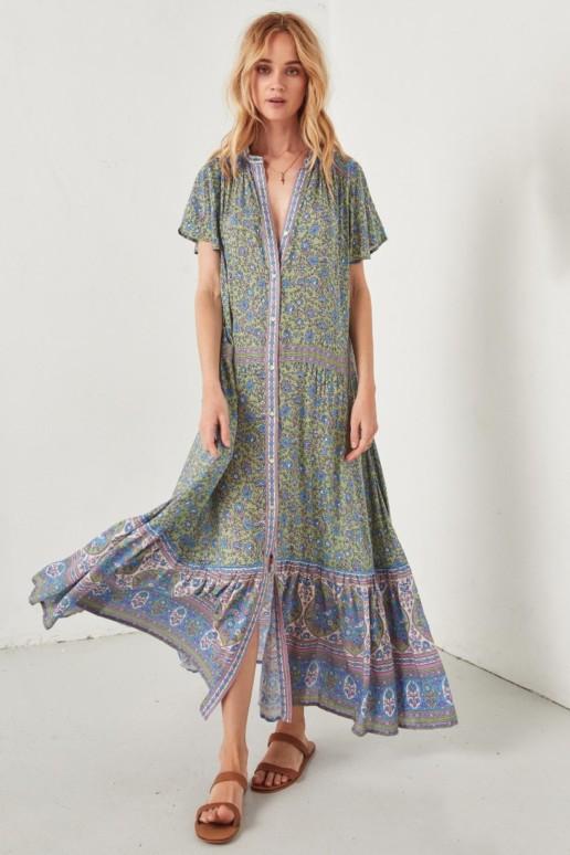 SPELL AND THE GYPSY Jasmine Flutter Sleeved Maxi Jade Dress