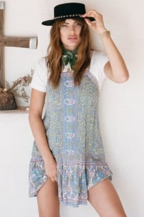 SPELL AND THE GYPSY Jasmine Strappy Mini Jade Dress