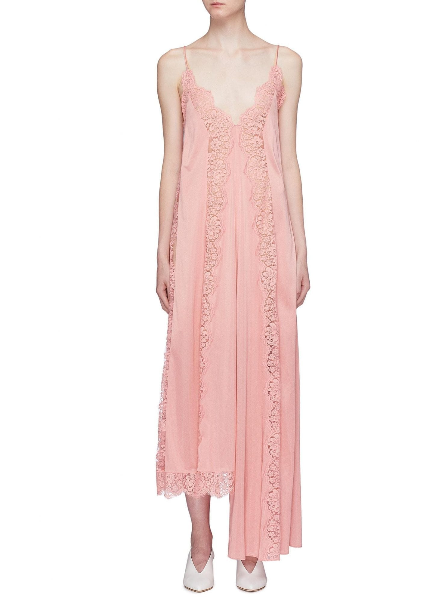 Stella Mccartney Asymmetric Lace Trim Knit Slip Pink Dress