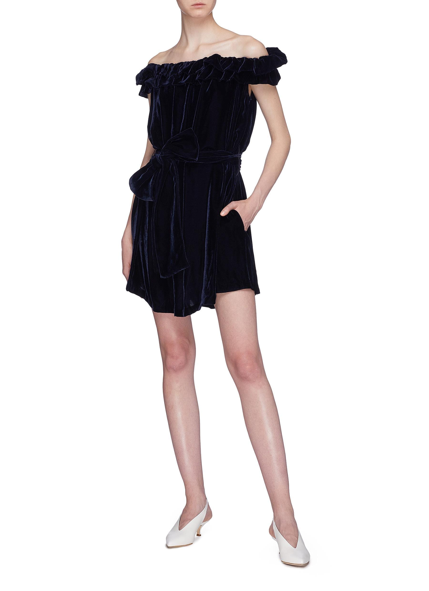 STELLA MCCARTNEY Belted Ruffle Off-shoulder Velvet Navy Dress