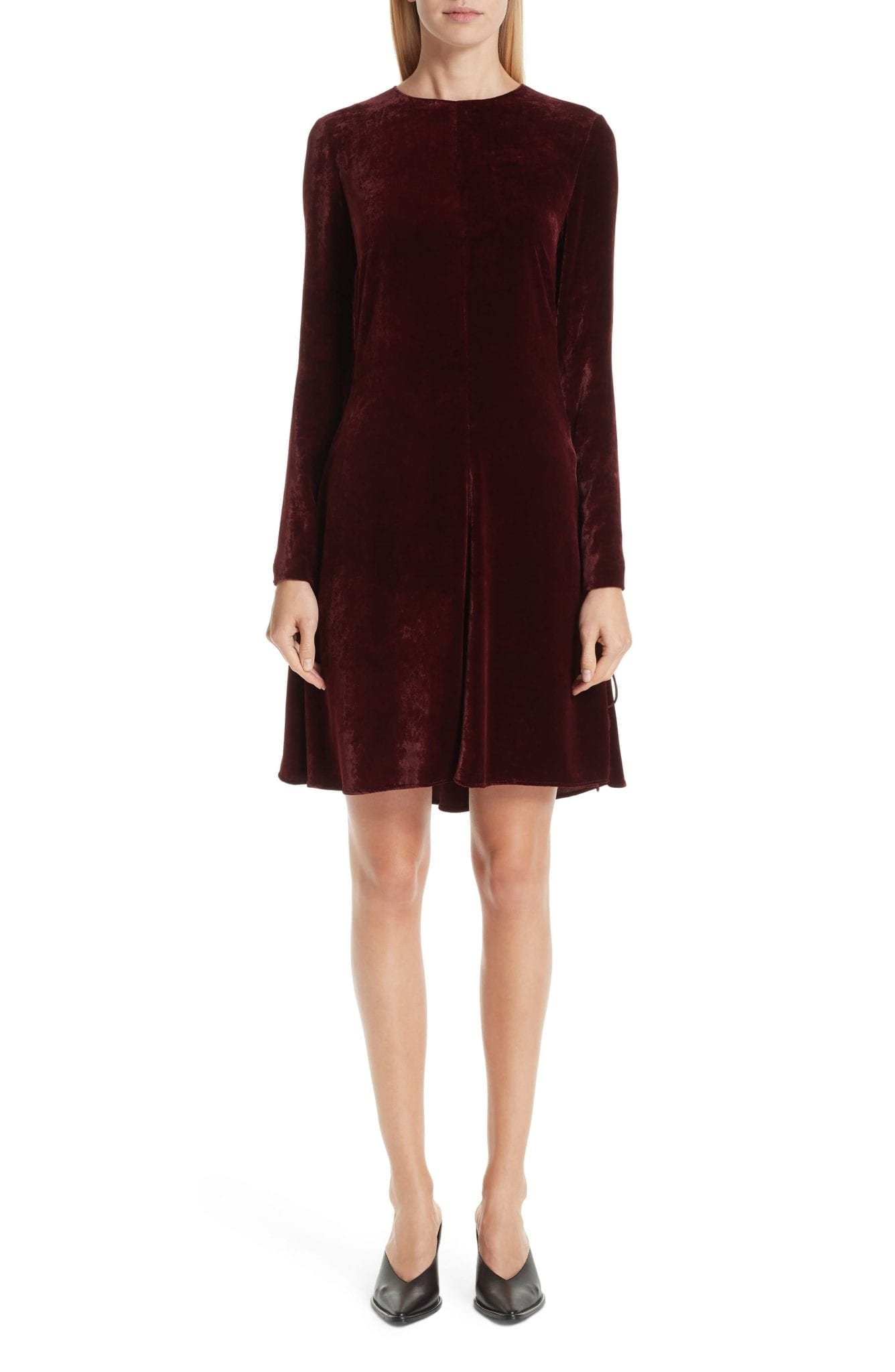 STELLA MCCARTNEY Lace-Up Side Velvet Burgundy Dress