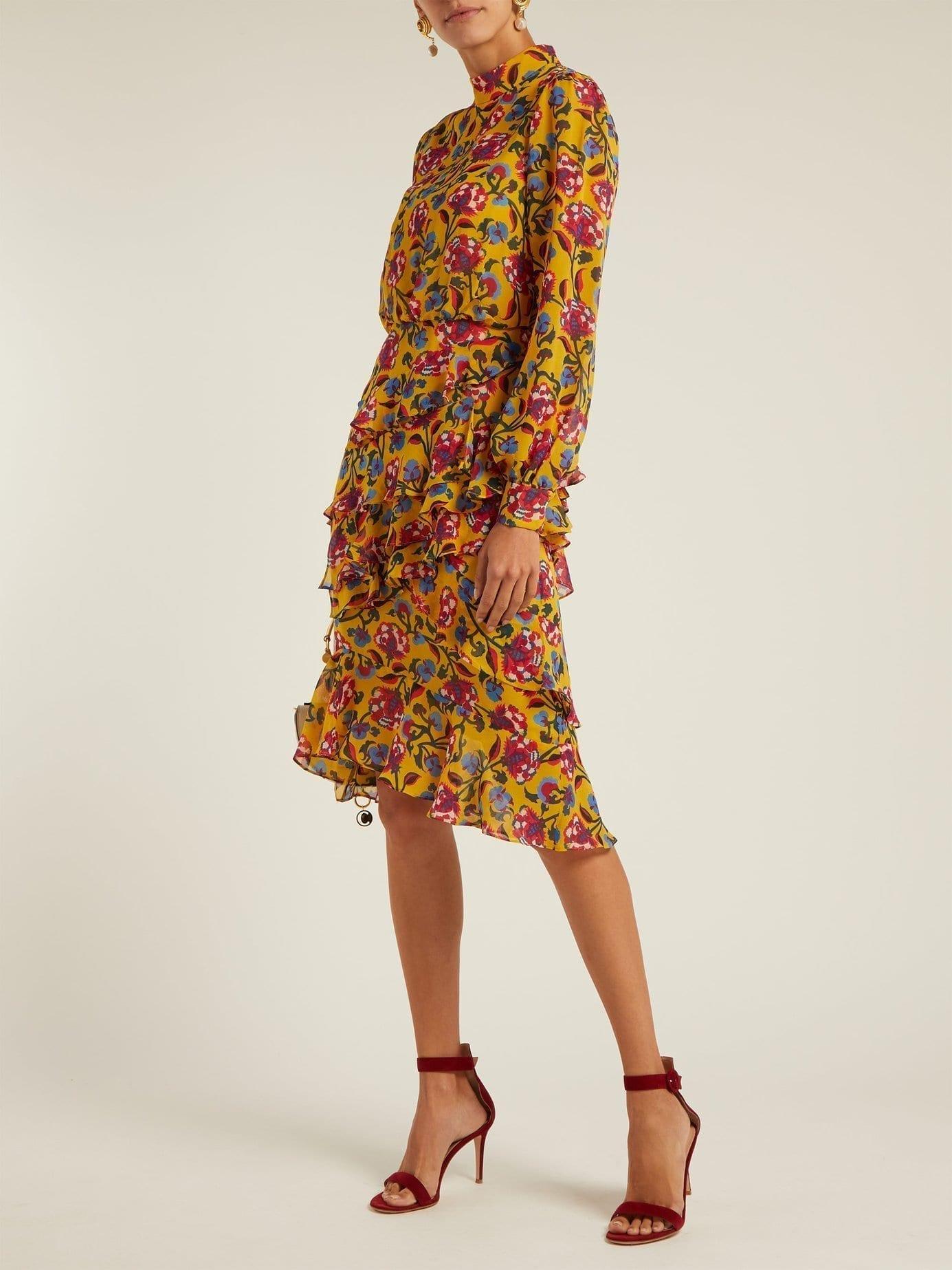 SALONI Isa Floral Print Silk Yellow Dress