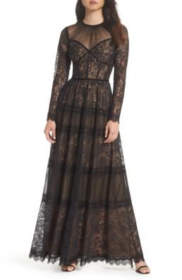TADASHI SHOJI Lace Black / Nude Gown