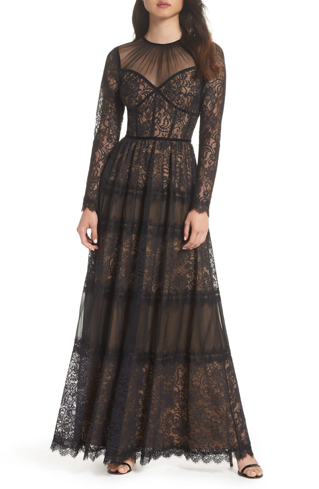 TADASHI SHOJI Lace Black / Nude Gown - We Select Dresses