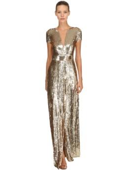 TEMPERLEY LONDON Back Cutout Sequined Long Gold Dress