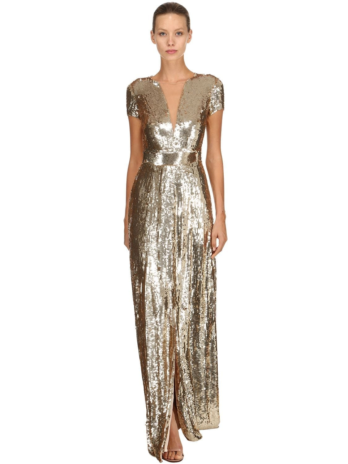 TEMPERLEY LONDON Back Cutout Sequined Long Gold Dress