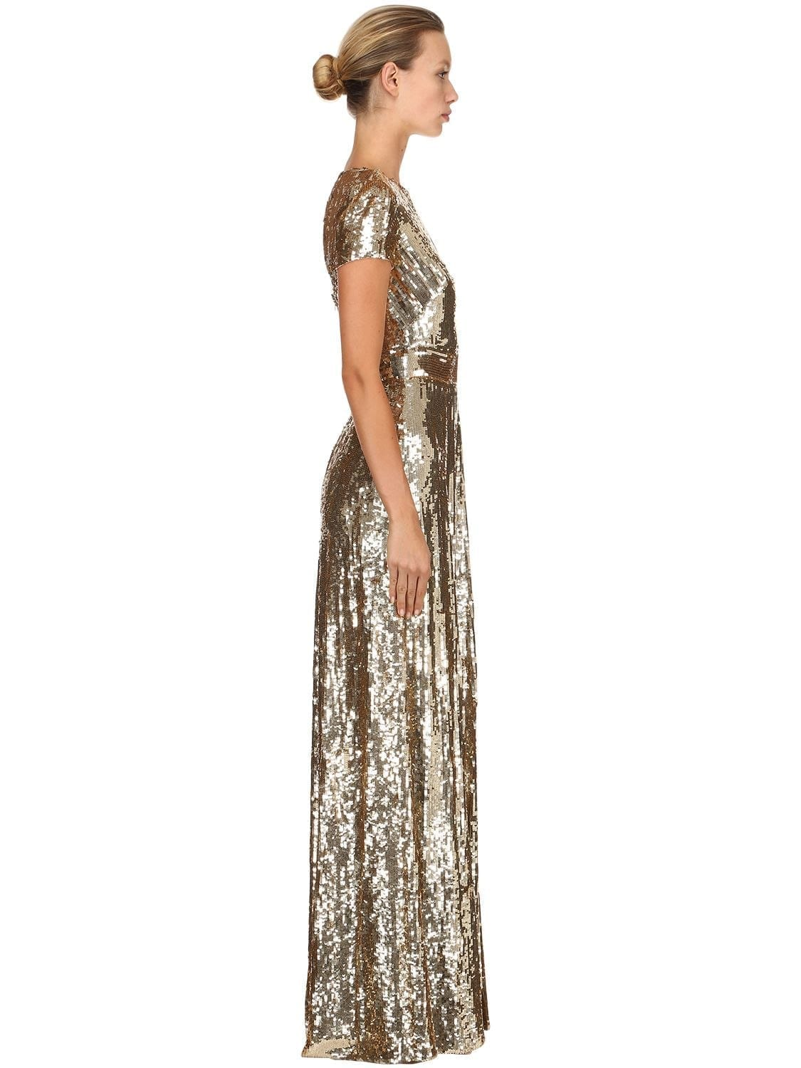 TEMPERLEY LONDON Back Cutout Sequined Long Gold Dress - We Select ...