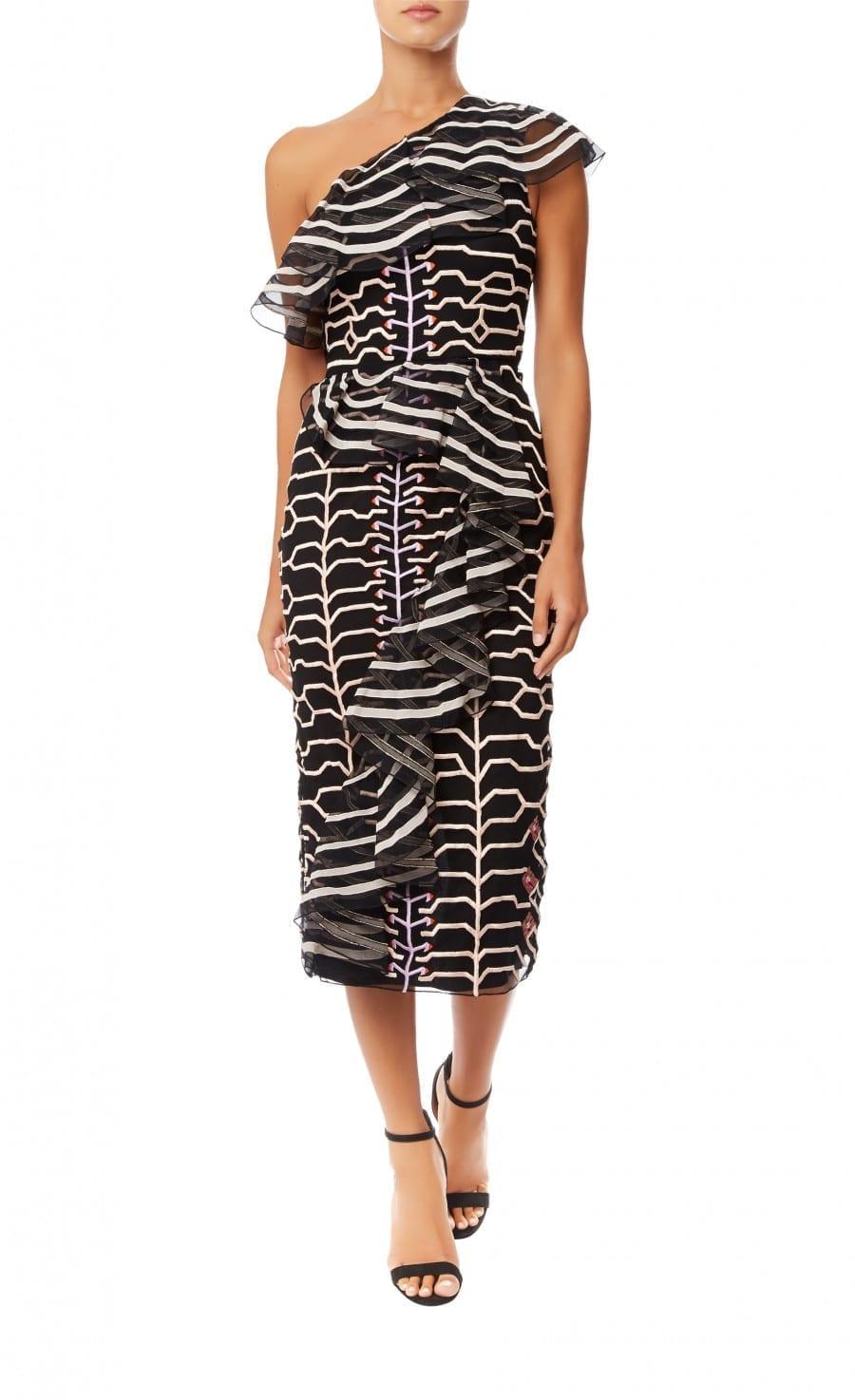 TEMPERLEY LONDON Canopy Ruffle Black Dress