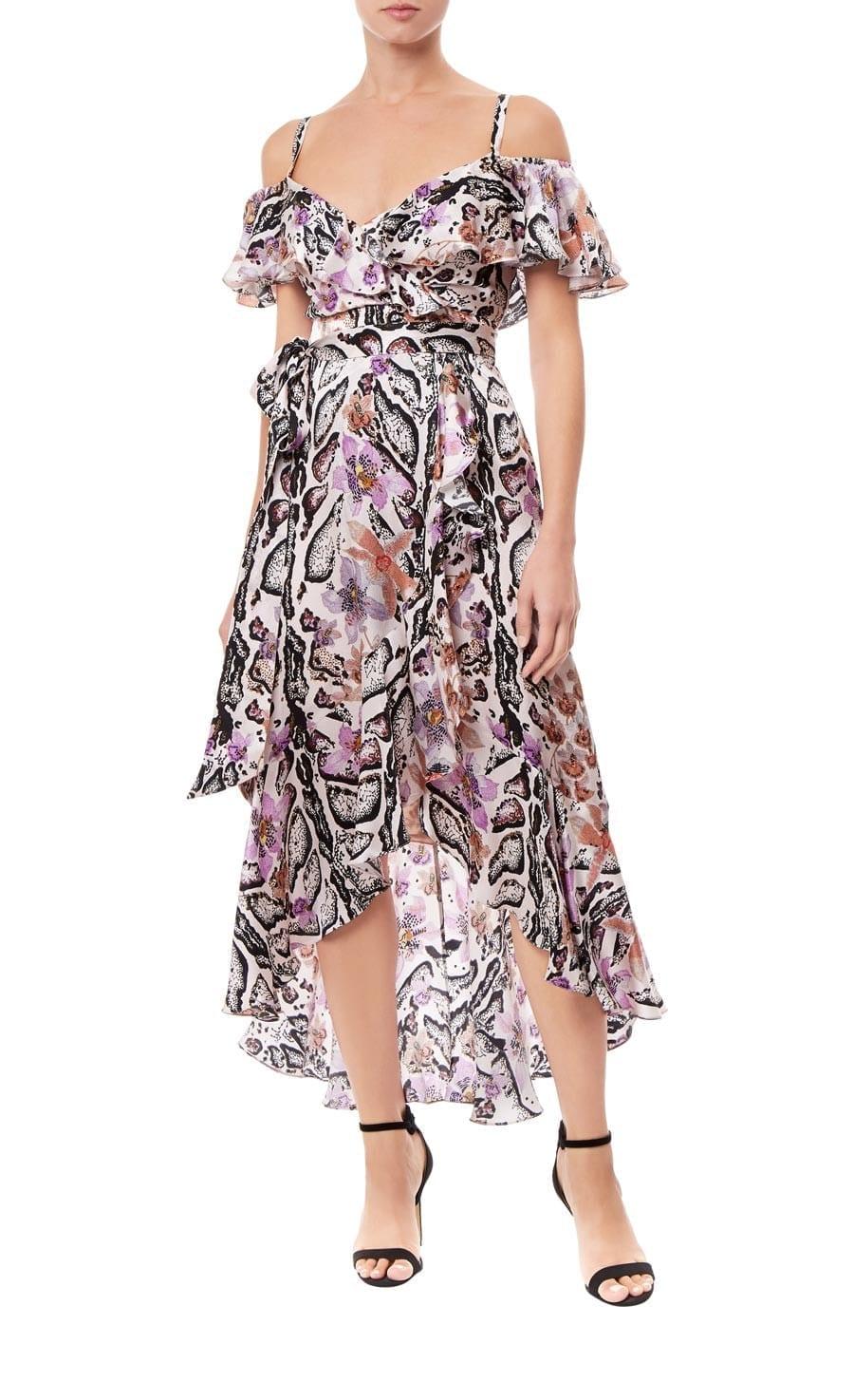 TEMPERLEY LONDON Safari Printed Wrap Almond Dress