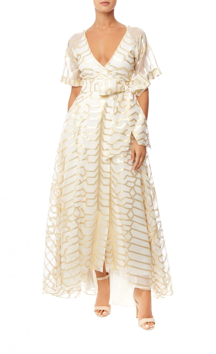 TEMPERLEY LONDON Tapis Wrap Ivory Dress