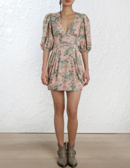 ZIMMERMANN Tempest Lace Up Printed Dress