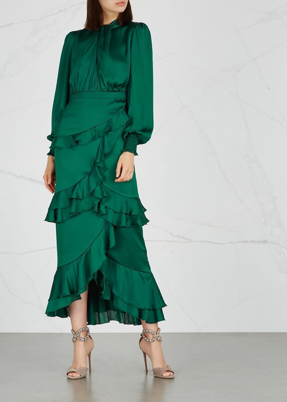 THREE FLOOR Jedi Ruffle-trimmed Satin Green Dress