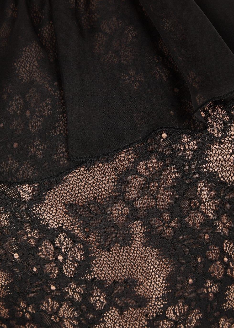 THREE FLOOR Ruffaella Ruffle Trimmed Lace Black Dress