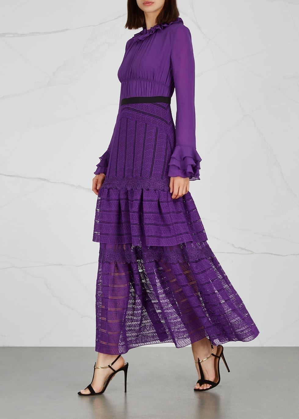 THREE FLOOR Ultralicious Purple Guipure Lace Purple Gown