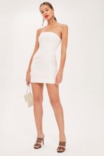 TOPSHOP Clean Seam Bandeau Mini Ivory Dress