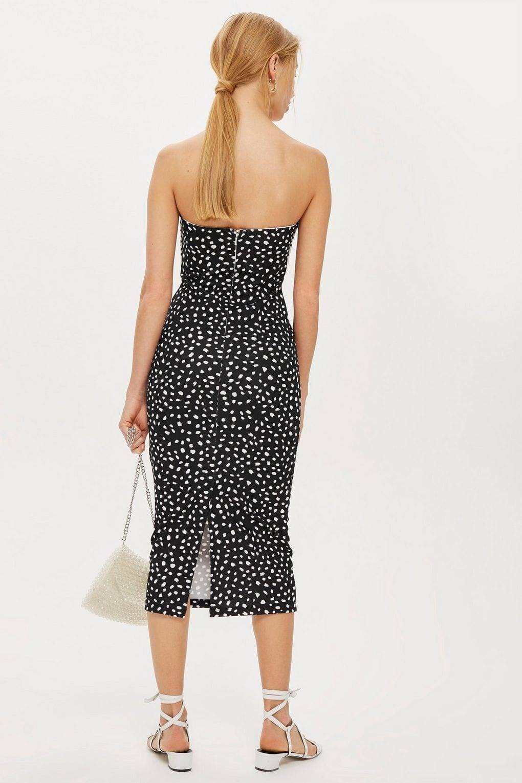 TOPSHOP Monochrome Bow Twist Midi Black / White Dress