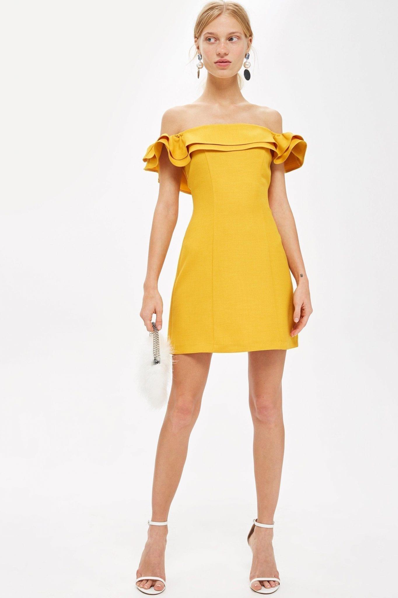 TOPSHOP Tall Ruffle Bardot Mini Yellow Dress