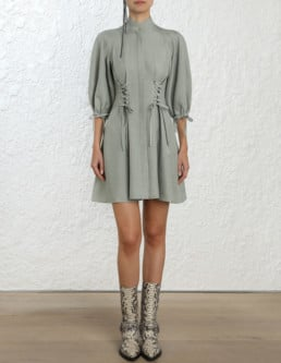 ZIMMERMANN Tempest Laced Gray Dress