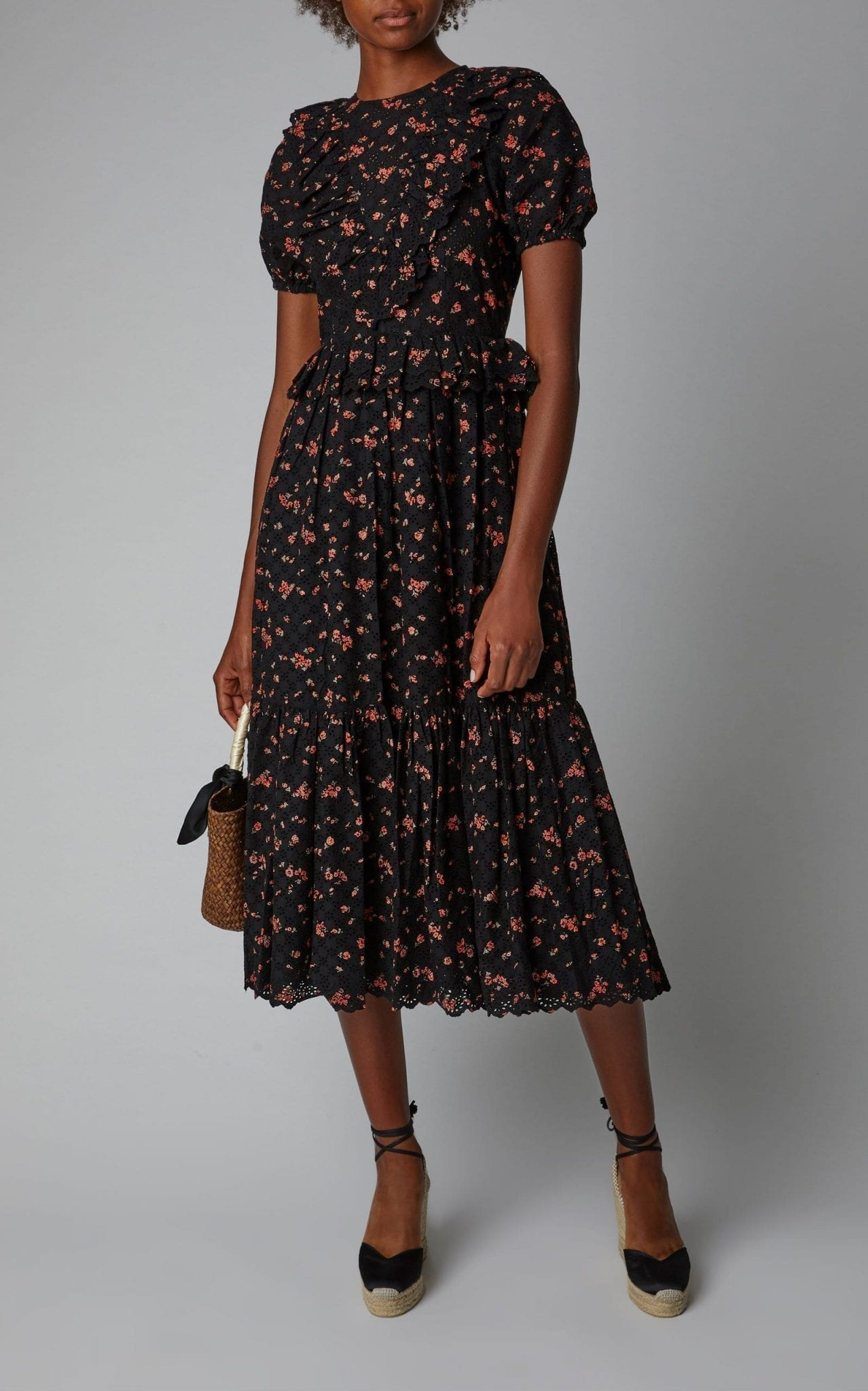 Ulla Johnson Bettine Fl Embroidered Broderie Anglaise Midi Black Dress