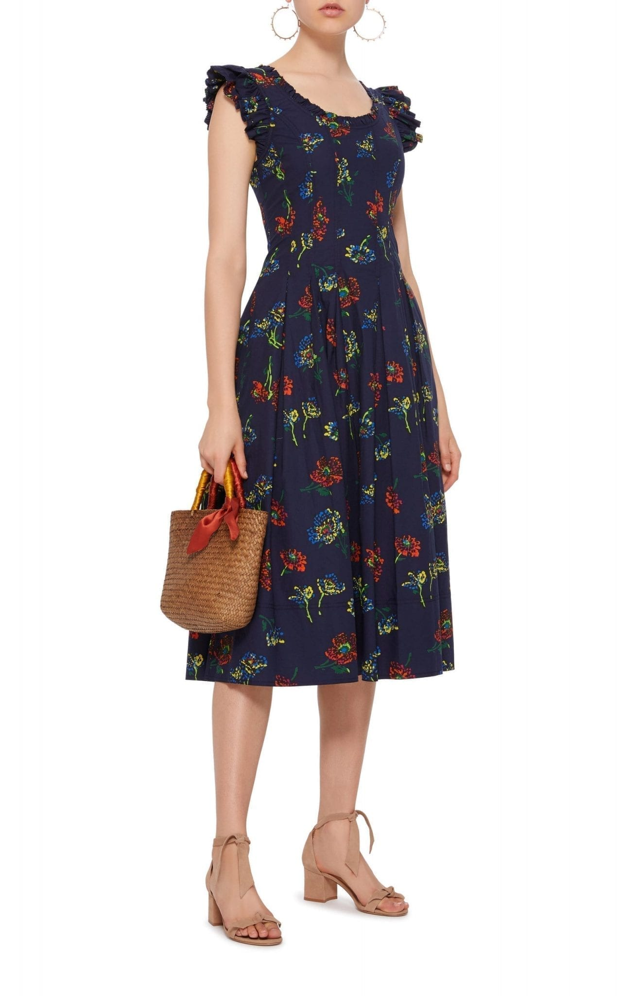 ULLA JOHNSON Camille Ruffled Printed Cotton-Poplin Midi Navy Dress