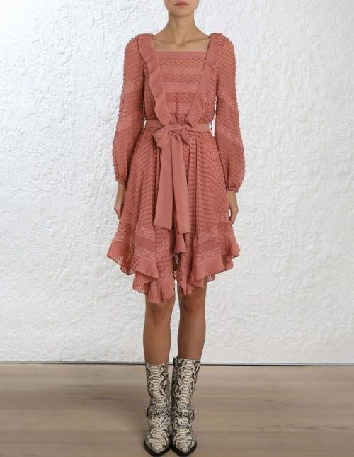 ZIMMERMANN Unbridled Hanky Rose Pink Dress