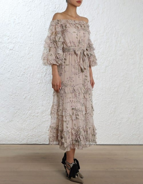 ZIMMERMANN Unbridled Ruffle Printed Dress