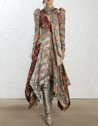 ZIMMERMANN Unbridled Chevron Silk Print Dress