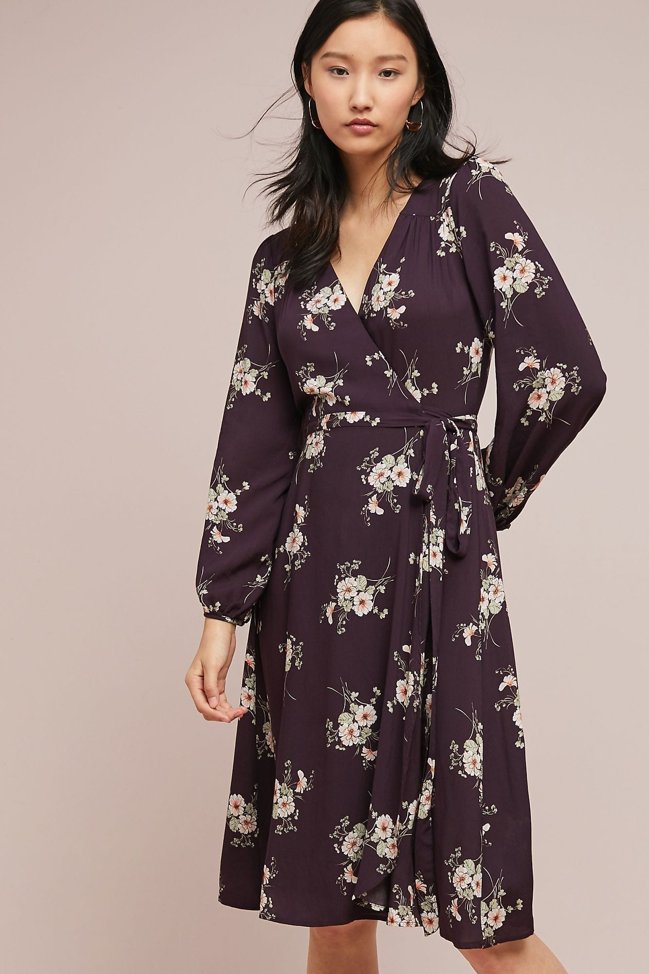 VELVET BY GRAHAM & SPENCER Pomona Wrap Black / Floral Printed Dress