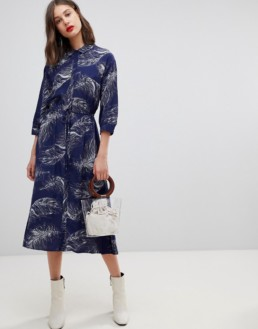 WAREHOUSE Feather Shirt Midid Navy Dress