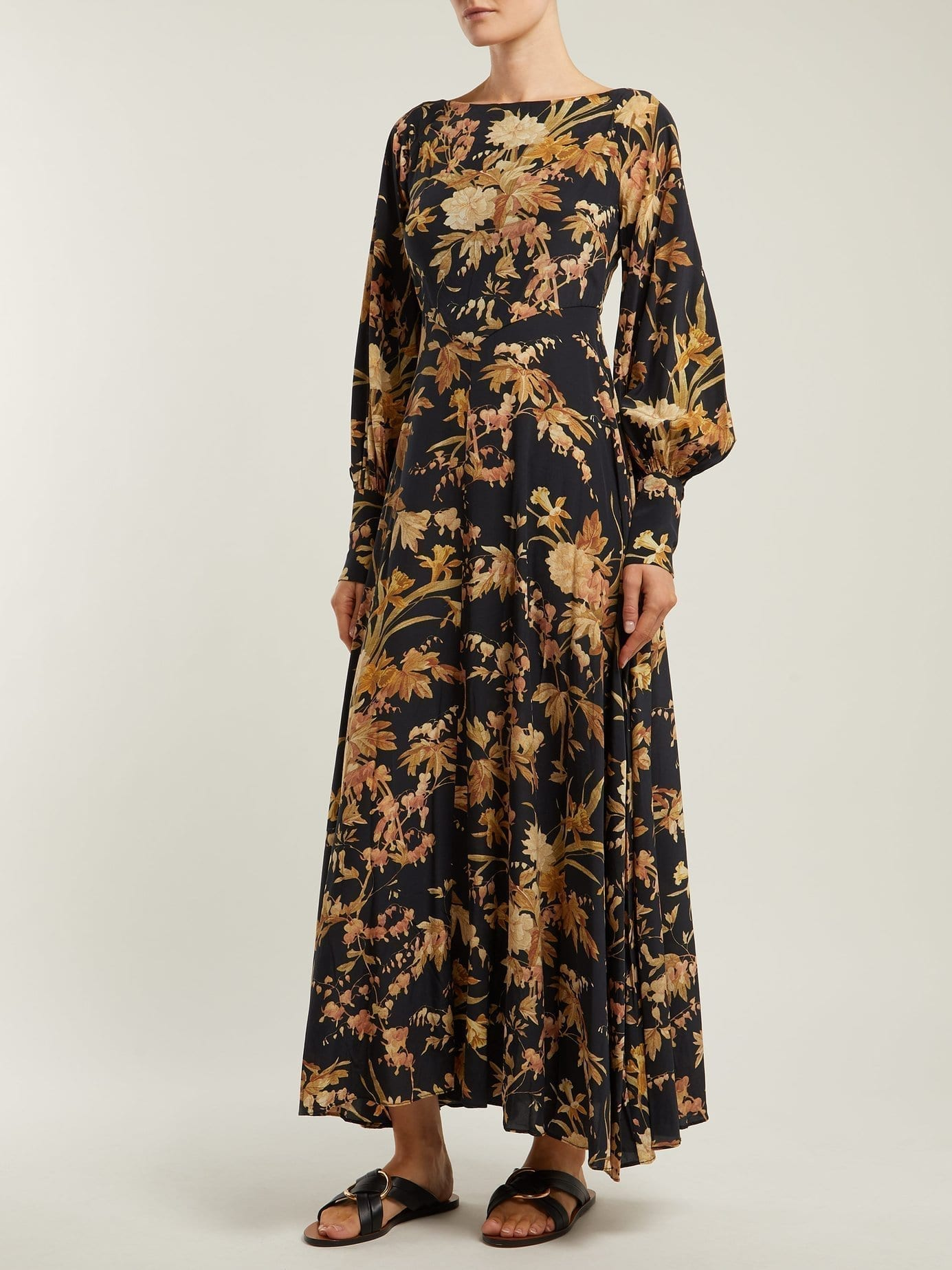 ZIMMERMANN Basque Silk Blend Black / Floral Print Dress